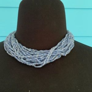 Jewelry - Necklace J31 Blue Seed Beads